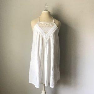 Roxy White Halter Dress Mini Lace Ivory S